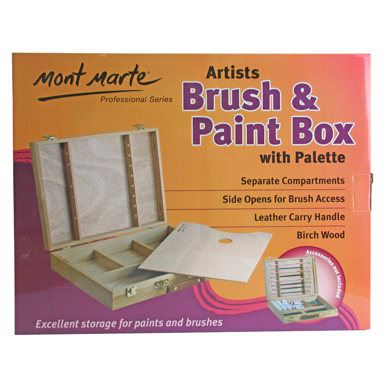 Mont Marte Large Wooden Brush/Paint Box with Palette  sc 1 st  Art Shed & Art storage boxes by Art Shed