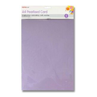 Pearlised Card A4 6pc - Lilac