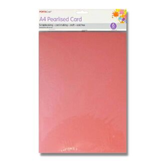Pearlised Card A4 6pc - Pink