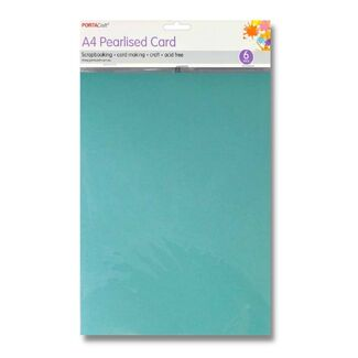 Pearlised Card A4 6pc - Soft Blue
