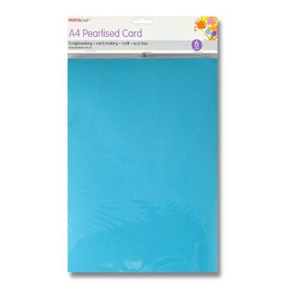 Pearlised Card A4 6pc Ice Blue
