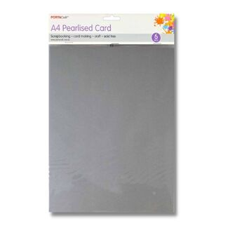 Pearlised Card A4 6pc - Silver