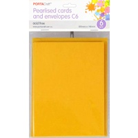 Pearlised Card & Envelope C6 6pc Light Gold