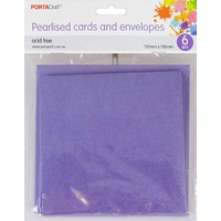 Pearlised Card & Envelope Square 13x13cm 6pc - Violet