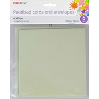 Pearlised Card & Envelope Square 13x13cm 6pc - Mint