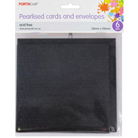 Pearlised Card & Envelope Square 13x13cm 6pc - Gunmetal