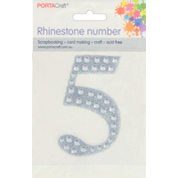 Rhinestone Numbers 63x65mm 5