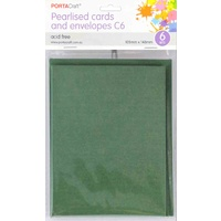 Pearlised Card & Envelope C6 6pc - Dark Green