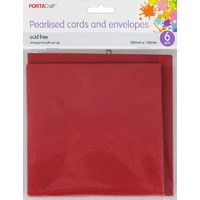 Pearlised Card & Envelope Square 13x13cm 6pc - Red