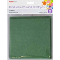 Pearlised Card & Envelope Square 13x13cm 6pc Dark Green