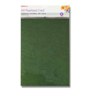 Pearlised Card A4 6pc - Dark Green