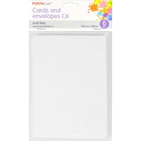 Craft Card & Envelope C6 6pc - White