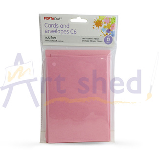 Craft Card & Envelope C6 6pc Hot Pink