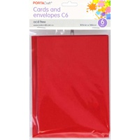Craft Card & Envelope C6 6pc - Crimson Red
