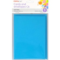 Craft Card & Envelope C6 6pc Light Blue