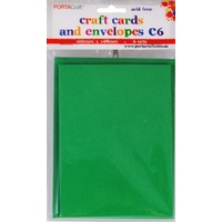 Craft Card & Envelope C6 6pc Xmas Green