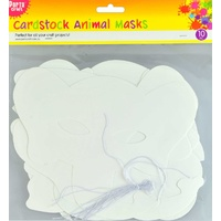 Cardstock Animal Mask w/ Elastic 10pc