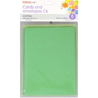 Craft Card & Envelope C6 6pc - Mint Green