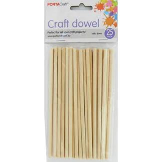 Wooden Craft Rod 25pc Natural