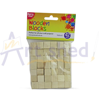 Wooden Craft Blocks Natural 42pc