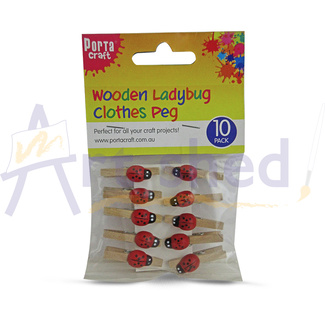 Wooden Clothes Pegs - Ladybug 10pc