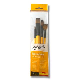 Mont Marte Gallery Series Paint Brush Set - Acrylic 4pc