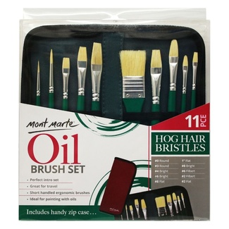Mont Marte Signature Paint Brush Set - Oil Hog Bristle In Wallet 11pc