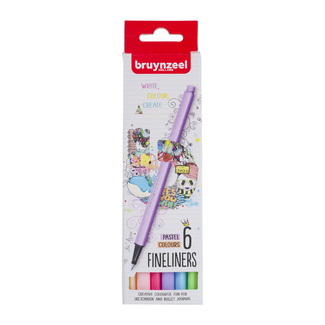 Bruynzeel Fineliner Set 6pc - Pastel