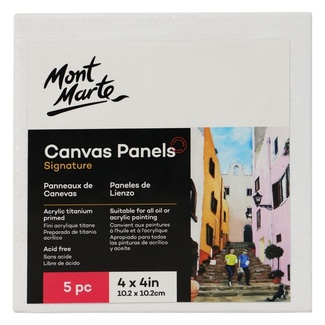 "Mont Marte Canvas Panel 4"" x 4"" - 10.2 x 10.2cm - 5pc"