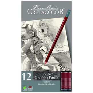Cretacolor Cleos Graphite Pencil Tin Set 12pc