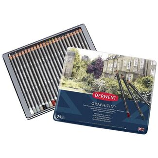 Derwent Graphitint Pencil Tin Of 24 - Toned Graphite Pencils