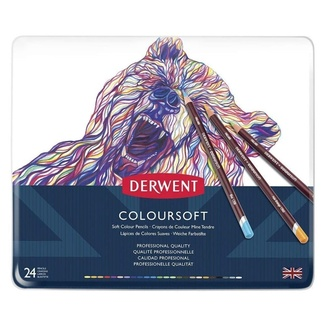 Derwent Coloursoft Colouring Pencil Tin Of 24