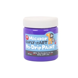 Micador Early Start No Drip Brush or Finger Paint 250ml Safe For Little Kids - Purple Grape