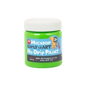Micador Early Start No Drip Brush or Finger Paint 250ml Safe For Little Kids - Mint Green