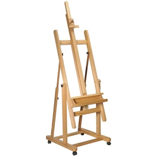 Mont Marte Floor Easel - Tilting Studio Easel w/Castor Wheels - Can Lie Flat Beech Wood