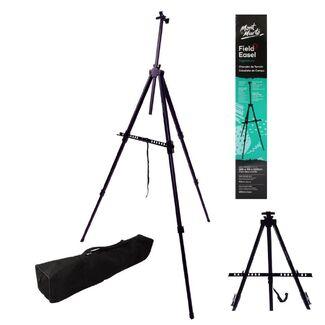 Mont Marte Tripod Easel - Portable Aluminium Field Easel Telescopic Legs  w/Carry Bag Black