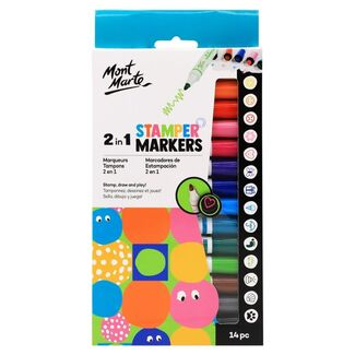 Mont Marte Kids - 2 in 1 Stamper Markers 14pc