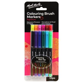Mont Marte Marker Set - Adult Colouring Brush Markers 12pc