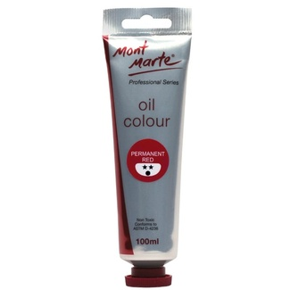 Mont Marte Oil Paint 100ml Tube - Permanent Red