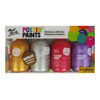 Mont Marte Kids - Poster Paint Set 4pc - Metallic