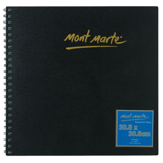 Mont Marte Visual Art Diary Spiral Bound White Paper 30.5 x 30.5cm 110gsm 80 Sheet
