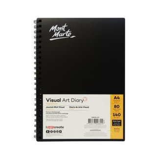 Mont Marte Visual Art Diary Spiral Bound Black Paper A4 140gsm 80 Sheet