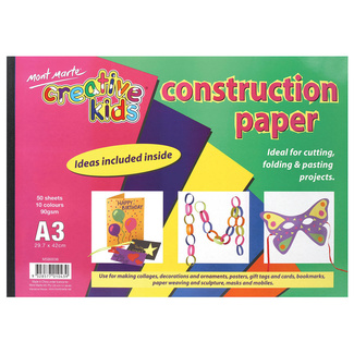 Mont Marte Kids - Construction Paper Pad A3 50 Sheet