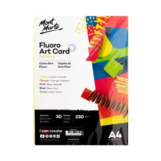 Mont Marte Fluro Art Card Pack 5 Colours - A4 230gsm 30pc