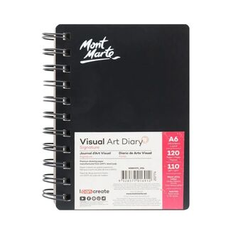 Mont Marte Visual Art Diary Spiral Bound White Paper A6 110gsm 120 Sheet