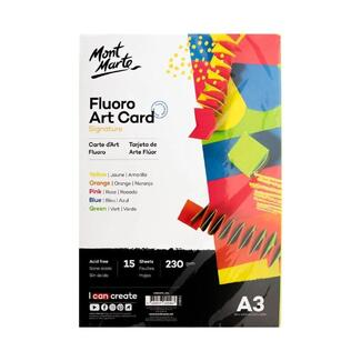 Mont Marte Fluro Art Card Pack 5 Colours - A3 230gsm 15pc