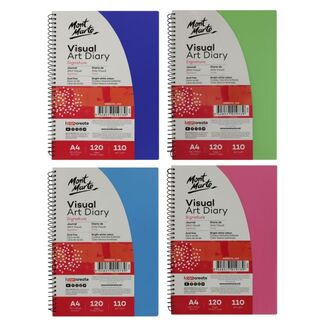 Mont Marte Visual Art Diary Spiral Bound Colour Cover White Paper A4 110gsm 120 Sheet - Choose Your Colour