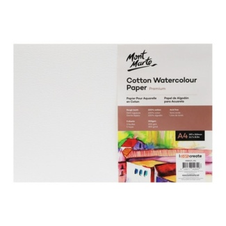 Mont Marte Premium Cotton Watercolour Paper A4 300gsm 5 Sheet