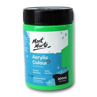 Mont Marte Signature Acrylic Paint 300ml Pot - Monastral Green
