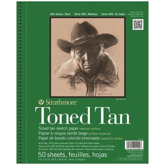 Strathmore 400 Toned Tan Wire Bound Sketch Book  9 x 12 Inch 118gsm 50 Sheets